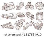 Sketch Lumber. Wood Logs  Trunk ...