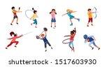set of children doing various... | Shutterstock .eps vector #1517603930