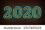 neon 2020 new year signs vector ... | Shutterstock .eps vector #1517605223