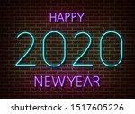 neon 2020 new year signs vector ... | Shutterstock .eps vector #1517605226