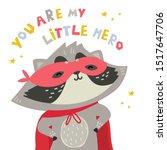 Cute Raccoon In Superhero...