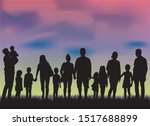 family silhouettes in nature ... | Shutterstock .eps vector #1517688899