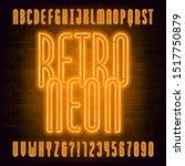 retro neon alphabet font.... | Shutterstock .eps vector #1517750879