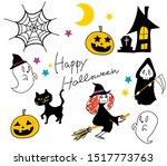 happy halloween  cute illust ...   Shutterstock . vector #1517773763
