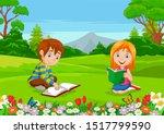 Cartoon Boy And Girl Reading...