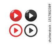 set of video play icons. vector ... | Shutterstock .eps vector #1517802389