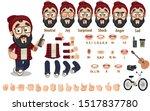 cartoon bearded hipster... | Shutterstock .eps vector #1517837780