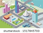 2.5d isometry modern city... | Shutterstock .eps vector #1517845703