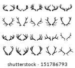 Black Silhouettes Of Deer...