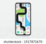 map gps navigation  smartphone... | Shutterstock .eps vector #1517872670