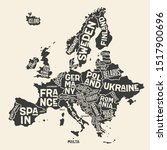 europe  map. poster map of the... | Shutterstock .eps vector #1517900696