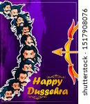 ten headed ravana on happy... | Shutterstock .eps vector #1517908076