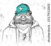 Hipster Animal Frog Dressed In...