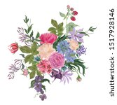 watercolor painting a bouquet...   Shutterstock . vector #1517928146