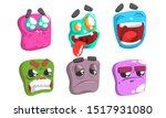 funny colorful monsters emojis...