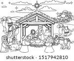 christmas nativity scene...   Shutterstock .eps vector #1517942810