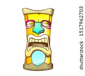 Tiki Idol Carved Wooden Crying...