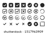 hand drawn black check mark and ... | Shutterstock .eps vector #1517963909