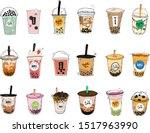 bubble tea cup design... | Shutterstock .eps vector #1517963990