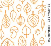 vector pattern with leaves.... | Shutterstock .eps vector #1517968493