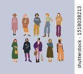 flat cute girls dressed in... | Shutterstock .eps vector #1518038213