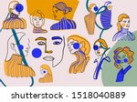 abstract line continuous face....   Shutterstock .eps vector #1518040889