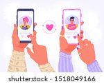 smartphone with dating...   Shutterstock .eps vector #1518049166