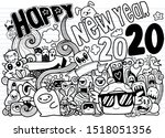 new year 2020 doodle hipster... | Shutterstock .eps vector #1518051356