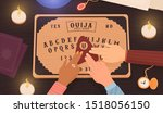 ouija board. communicating with ... | Shutterstock .eps vector #1518056150