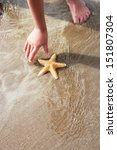 Girl Discovering Starfish On...