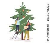 happy couple decorate green... | Shutterstock .eps vector #1518078323