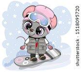 cute cartoon mouse girl on a...   Shutterstock .eps vector #1518095720