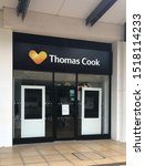 Small photo of Westwood Cross, Broadstairs, Kent / UK - Sept 26 2019: Thomas Cook travel agent shop closed for business in the Westwood Cross shopping centre