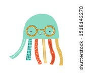 cute jellyfish with gold... | Shutterstock .eps vector #1518143270