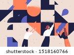 teamwork concept flat vector... | Shutterstock .eps vector #1518160766