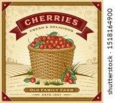 retro cherry harvest label with ... | Shutterstock . vector #1518164900