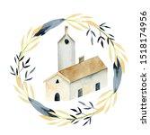 Watercolor Nordic Church Insid...