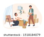 young couple moving to a new... | Shutterstock .eps vector #1518184079