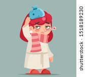 sick ill girl cold virus flu... | Shutterstock .eps vector #1518189230