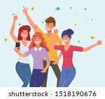 young people are celebrate... | Shutterstock .eps vector #1518190676