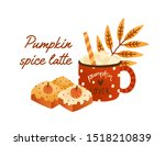 tasty pumpkin spice latte in... | Shutterstock .eps vector #1518210839