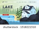 landing page template of lake... | Shutterstock .eps vector #1518221510