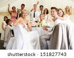 bride and groom celebrating... | Shutterstock . vector #151827743