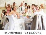 bride and groom celebrating... | Shutterstock . vector #151827743