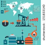Process of oil production and petroleum refining - vector  Infographic design elements