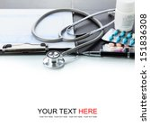 stethoscope with black medical... | Shutterstock . vector #151836308