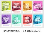 fast food flyers. coffee ... | Shutterstock .eps vector #1518376673