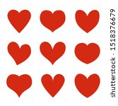 red hearts. heart stickers ... | Shutterstock .eps vector #1518376679