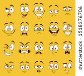 Cartoon faces. Funny face expressions, caricature emotions. Cute character with different expressive eyes and mouth, vector happy tongue emoticon collection
