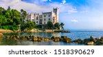 Small photo of Beautiful romantic castles of Italy - elegant Miramare over the sea. Trieste